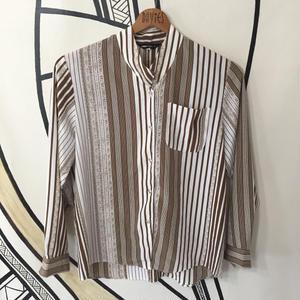 【個性的】レトロ デザイン ストライプ ノーカラー柄シャツ