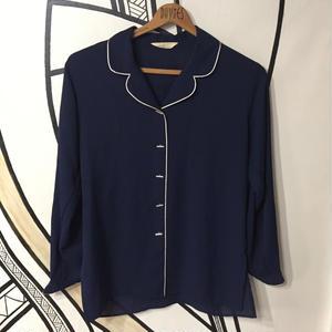 【一点物】レトロネイビー個性的ボタン開襟薄手シャツ