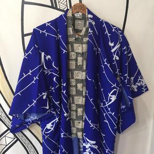 【KIMONO】ヴィンテージ ブルー 漢字 着物 ロングガウン