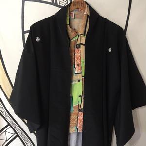 【KIMONO】ヴィンテージ ブラック 刺繍 着物 ロング ガウン