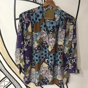 【BIG】レトロ 奇抜柄 開襟 デザイン 柄シャツ