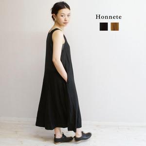 Honnete(オネット)アイリッシュリネン ノースリーブワンピース(Aライン タンクワンピ)