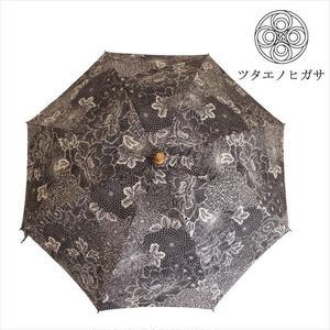 傳(ツタエノヒガサ)浜松注染 日傘/ 長傘タイプ「キツネノタスキ - 黒菊 」