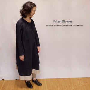 Vlas Blomme(ヴラスブラム) Lenticel Chambray リボンタックワンピース 13217781