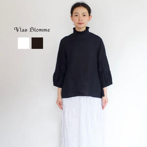 【2017秋冬再生産:ご予約】Vlas Blomme(ヴラスブラム) コルトレイクリネン フリル衿ブラウス
