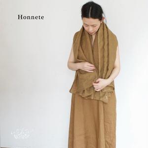 Honnete(オネット)アイリッシュリネン  ピン付きスクエアショール(ストール)