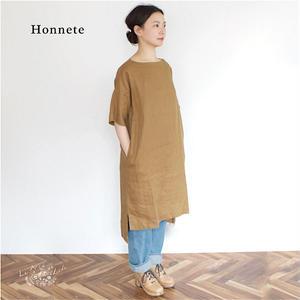 Honnete(オネット)アイリッシュリネン 脇スリット入り ボックスワンピース(チュニック)