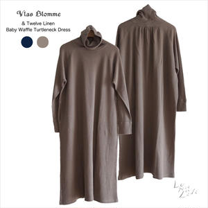 Vlas Blomme(ヴラスブラム)  & Twelve Linen(Baby waffle)コットンリネン ワッフル タートルネックワンピース 12205081