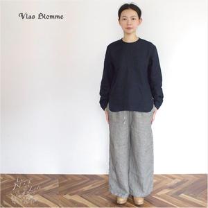 Vlas Blomme(ヴラスブラム) 平織リネン ノーカラーシャツ (ネイビー・オフホワイト)