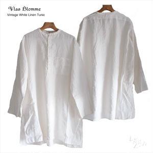 Vlas Blomme(ヴラスブラム)  60/1 平織リネン(コルトレイクリネン) ヘンリーネック ワイドチュニック