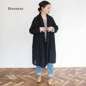 Honnete(オネット)アイリッシュリネン ショールカラー ガウンコート