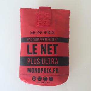 パリのスーパーMONOPRIX エコバッグ 鮮やか赤(ロゴ黒)