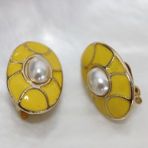 フランス1980年代*七宝風イヤリング パール付 yellow_019