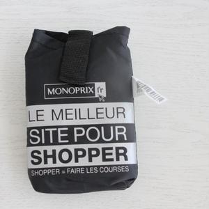 パリのスーパーMONOPRIX エコバッグ 黒×シルバー
