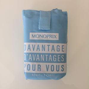 パリのスーパーMONOPRIX エコバッグ 明るい水色(ロゴ白)