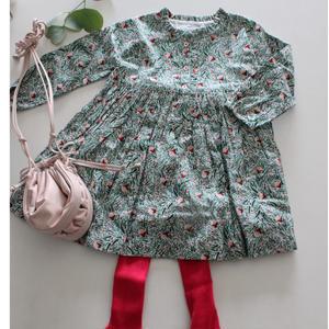 Franceベビー服 緑と赤の花柄ワンピース 24M _f019
