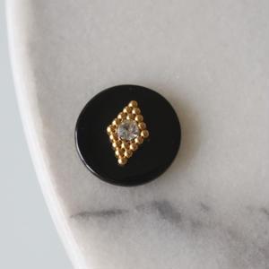 黒丸ゴールドダイヤ ラインストーン 一つ穴20㎜  France直輸入