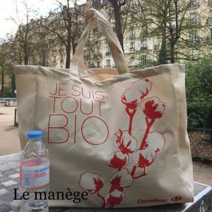 フランスBioスーパーのトートバッグ 赤ロゴ大きめキャンバス地