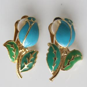 ブルーのお花のイヤリング〈フランス1980年代デッドストック〉