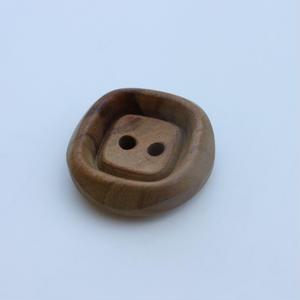 フランス現代ボタン 丸みスクエア木製ボタン 二つ穴30㎜