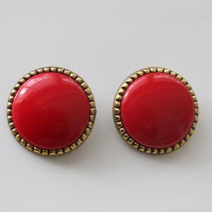 大きな丸い金縁イヤリング(赤)〈フランス1980年代デッドストック〉
