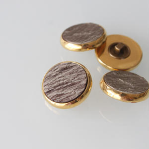 フランスボタン  ウッド金縁丸 一つ穴 ヴィンテージボタン デッドストック
