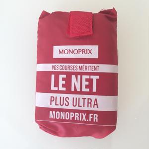 パリのスーパーMONOPRIX エコバッグ 濃い赤(ロゴ白)