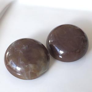 チョコレートマーブルのイヤリング〈フランス製1970年代デッドストック〉3F