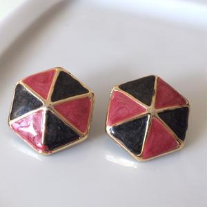 赤黒アンブレラのイヤリング〈フランス1980年代デッドストック〉A1