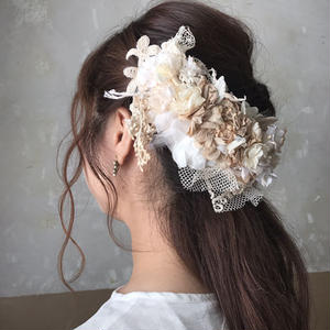 バラとあじさいの大きなヘッドドレス*
