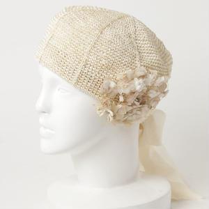 リボンのラフィアベレー帽*