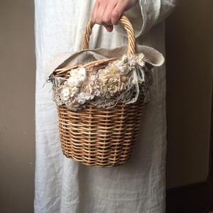 【限定数量・受注生産/3月中旬頃のお届け】m.soeur 鍵網レースとお花のカゴバッグ