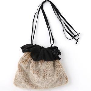 ファーとリネンの巾着bag*
