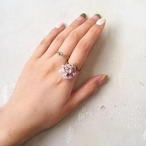 【限定一点】Lilaf ミニクララのリング grey & beige