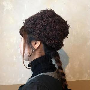 ベルベットリボンとチュールのニット帽*