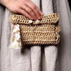 【限定一点】Lilaf 手編みのラフィアポーチ natural