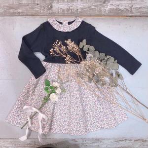 【crochette】フリル襟付き ニット×フラワープリントワンピース ネイビー