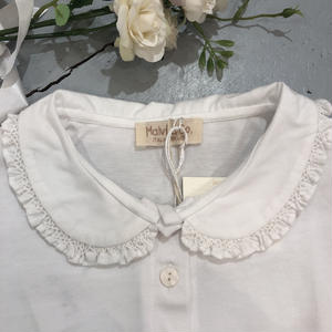 【Malvi & Co】襟スモッキングカットソー ホワイト刺繍