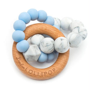 【loulou LOLLIPOP】teether  trintysilicon babyblue 歯固め ウッドベビーブルー