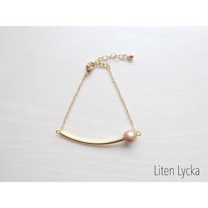 【全4色】gold pipe × czech  glass pearl ブレスレット