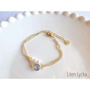 stone × pearl 二連ブレスレット