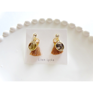 【全3色】crystal × mini tassel ピアス