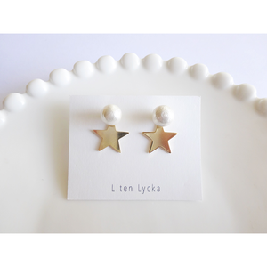cotton pearl × star ピアス