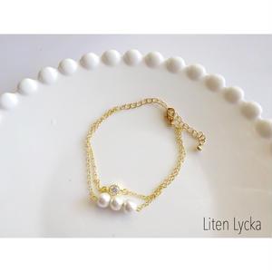 zirconia ×cotton pearl 二連ブレスレット