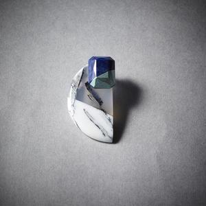 Tone Stone アゲート斜め箔ピアス  シルバー/ミント