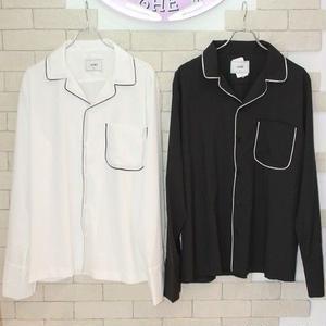 L/S PAJAMA SHIRTS BLACK/WHITE