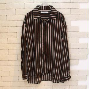 L/S OPENCOLLAR B STRIPE SHIRT BLACK