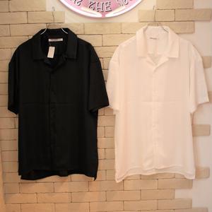 S/S SATIN SHIRTS BLACK/WHITE