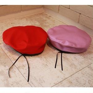 COTTON BERET HAT RED/LAVENDER