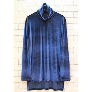 VELVET TURTLE NECK TEE BLUE